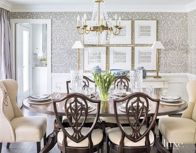 Attractive Dining Room Wallpaper. Farrow U0026 Ballu0027s Silvergate Wallpaper In Grisaille  Defines The Dining Room. #DiningRoom #Walu2026 | Dining Room Decor And Style  Ideas ...