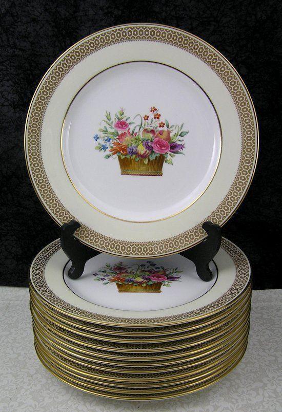 12 Antique Copeland Spode Hand Painted Flower Basket