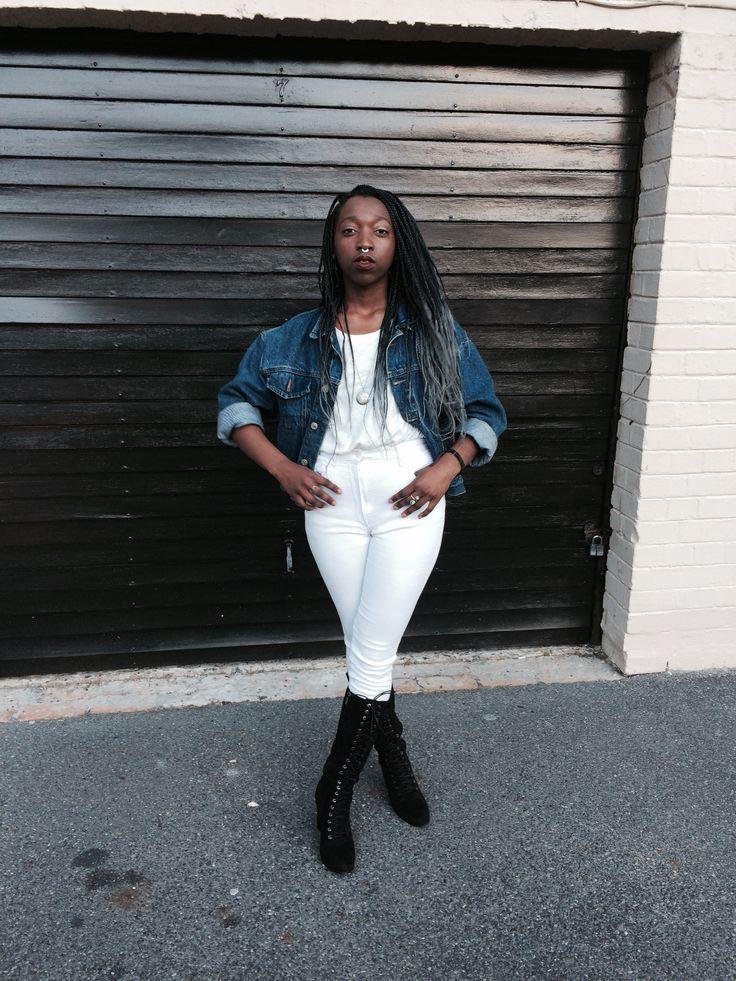 Jacklyn in all white, denim jacket and boots. #fashion #blogger #stylist #love #happy #trendy #fun #blackgirl
