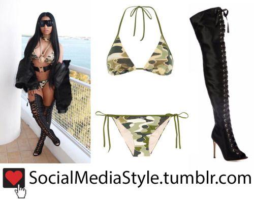 Buy Nicki Minaj's Camouflage Bikini and Lace-up Thigh-High Boots, here!