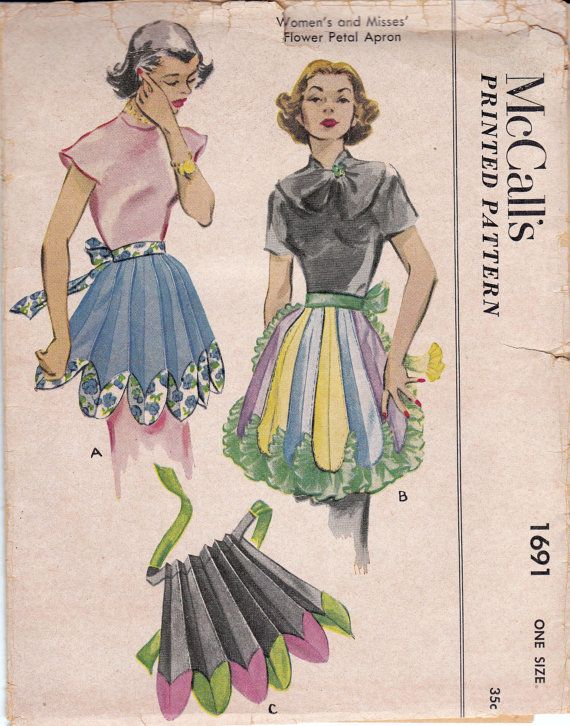 McCalls 1691; ©1952.  Womens and Misses Flower Petal apron.  Pattern is printed, cut and complete, in good condition. Envelope is in good vintage condition, some shelf wear and yellowing.  This is an ORIGINAL vintage sewing pattern, not a PDF or copy.  Mailed to you in an acid-free, resealable cello envelope.  More craft and accessories patterns here:  https://www.etsy.com/au/shop/allthepreciousthings?section_id=15735408&ref=shopsection_leftnav_10