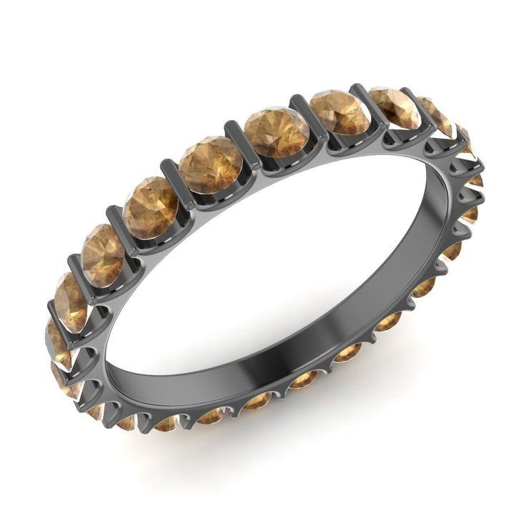 Certified 1.61 Ct Brown Diamonds 14k Black Gold Full Eternity Wedding Band Ring | eBay
