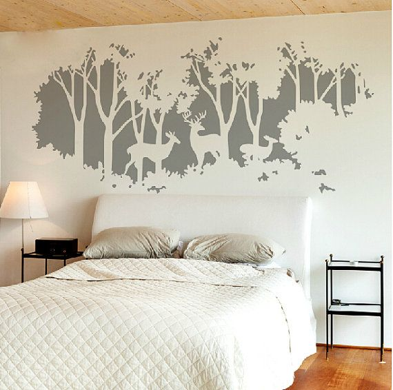 White Tree Decal Deer Tree Wall Sticker Forest Tree Decals For Bedroom Vinyl