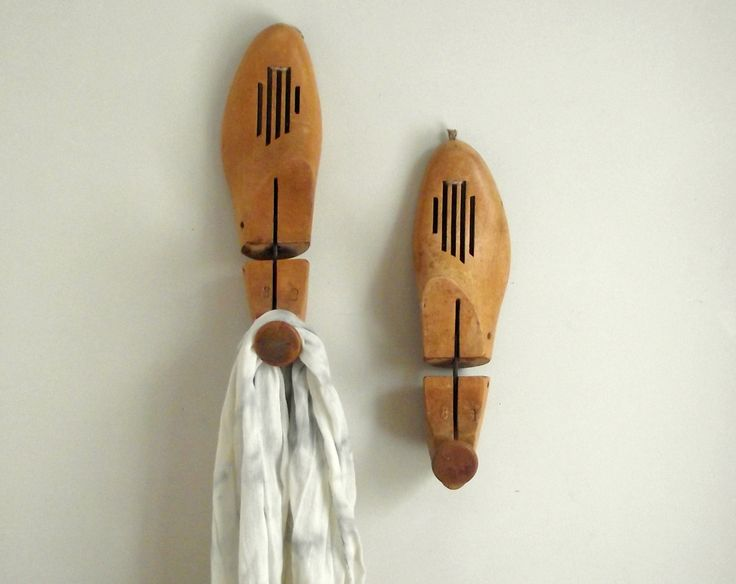 Wooden Shoe Stretchers Shoe Keepers Entry Hall Wall Hooks  Modern Rustic Decor Industrial