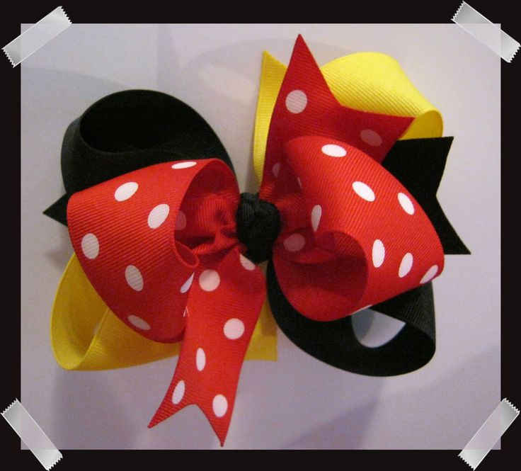 M2M Mouse Inspired LARGE Black, Yellow, Red and White Dots Triple Loop Grosgrain Hair Bow by perfectprincess on Etsy https://www.etsy.com/listing/57105983/m2m-mouse-inspired-large-black-yellow