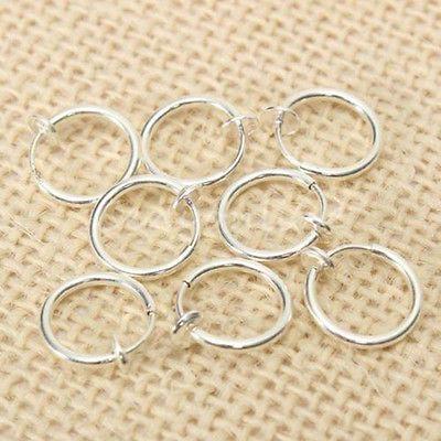 8PCS Punk Clip On Fake Nose Lip Hoop Rings Earrings Silver Body Piercing Jewelry