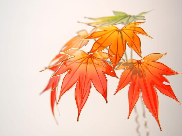 ◆紅葉◆もみじ◆簪◆髪飾り◆ディップアート◆蒼翠◆ - ヤフオク!