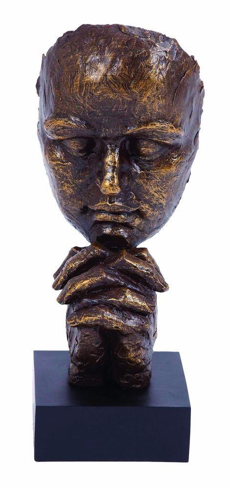 Meticulous Detailed Distressed Praying Or Thinking Man Statue #Benzara