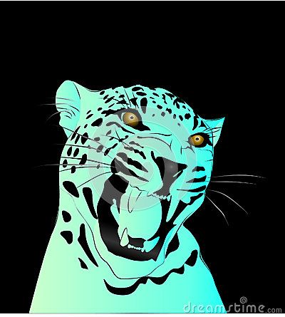 Neon blue gradient vector illustration of a leopard with a dark background.