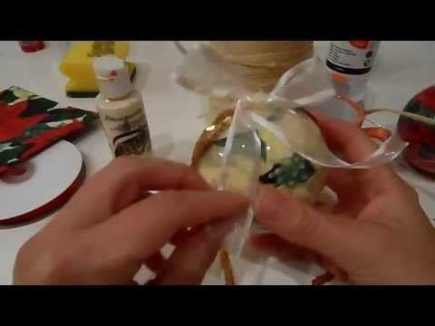 Tutorial: Decoupage e cracklè su sfera di plastica (christmas decorations) - YouTube