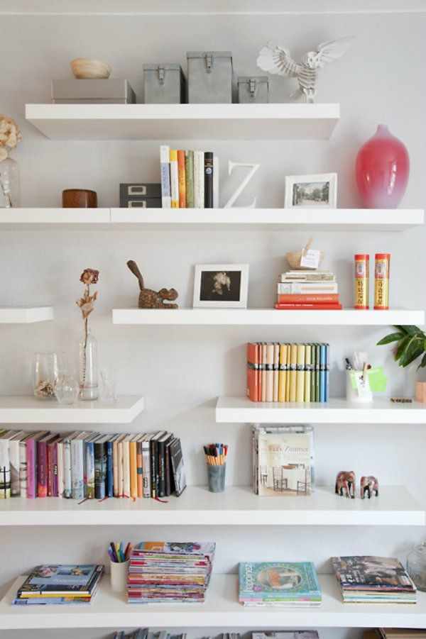 This project tutorial for floating bookshelves is ideal for adding some much-need organization and storage to your living space. Plus, with this stunning design inspiration, you can even get ideas on how to style your office supplies and knick-knacks!