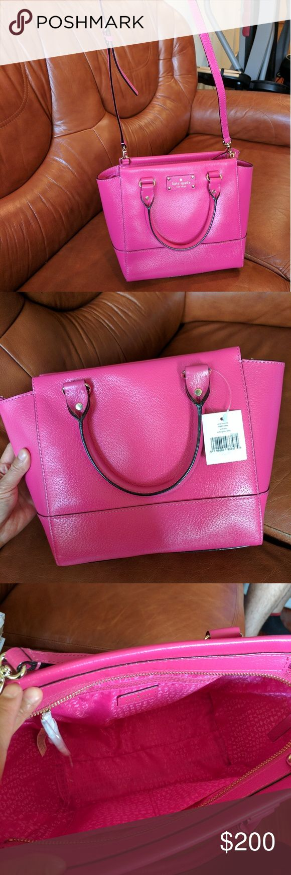 """NWT Kate Spade pink shoulder bag Brand new with tags!  Features  Boarskin-embossed leather with 14-karat light gold plated hardware  9.5"""" L (bottom width) x 9.5"""" H x 5.5"""" D  Handles with 4"""" drop; optional, adjustable strap that can be worn on shoulder or cross-body  Top-zip closure  Interior features zip, cellphone and multi-function pockets kate spade Bags Shoulder Bags"""