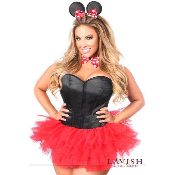 Plus size flirty mouse corset costume ($120) ❤ liked on Polyvore featuring…