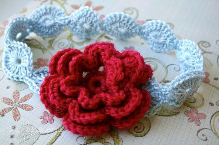 Crochet Pattern For Toddler Headband : Crochet pattern, INSTANT DOWNLOAD baby flower headband ...