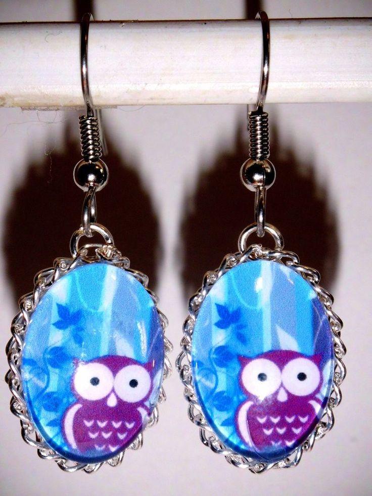 Damen Ohrringe Eule Tiere Hänger Ohrschmuck Modeschmuck Blau Glas Durchzieher