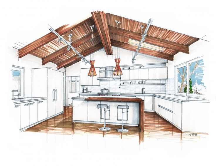 Interior Design Interior Designer Sketcher Of Kitchen Design With Track Lighting On Vaulted Ceiling And 2 Pendant Lamps Over Kitchen Island With Seating The Benefits From Renting the Professional Interior Designer to Design the House