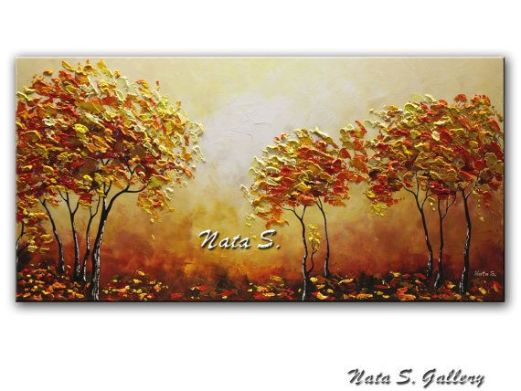 Fall Tree Painting Original Autumn Tree Painting by NataSgallery -- acrylic, texture, canvas, palette knife, impasto, heavy texture