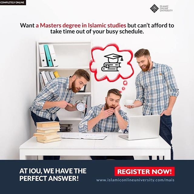 The Islamic Online University (IOU), founded by Dr. Bilal Philips, offers the world's first tuition-free Master's degree in Islamic Studies program completely online and in English as a medium of instruction. This is an excellent opportunity for BA studen
