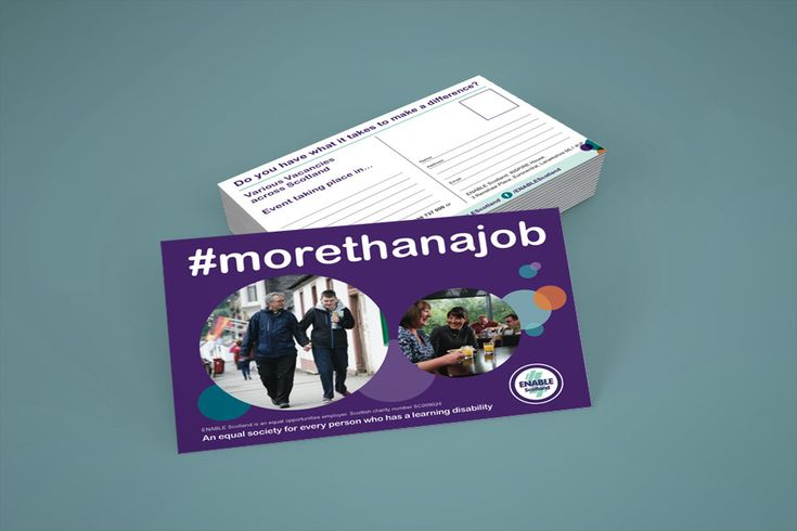 """MORE THAN A JOB — Double-sided postcard design for ENABLE Scotland's Recruitment Service called """"More Than A Job"""". #graphicdesign #postcard"""