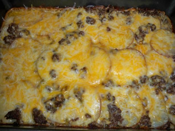 Hamburger Potato Cheese Casserole. Made with these alterations: cooked a whole sliced onion with hamburger, then seasoned meat with garlic powder and Worcestershire sauce. YUMville.