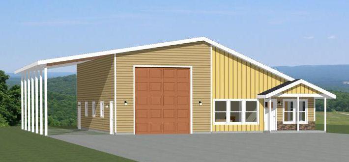 24x36 2 Car Garage 24x36g11c 1 344 Sq Ft Excellent Floor Plans Garage Apartment Plans Small House Plans Floor Plans Ranch