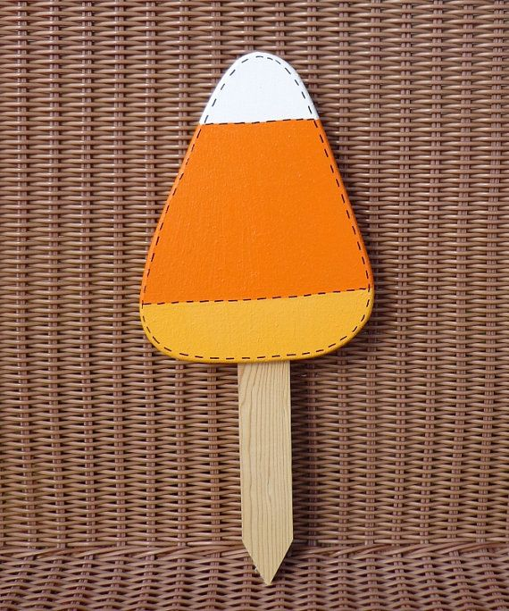 personalized wooden candy corn yard sign - Personalized Halloween Decorations