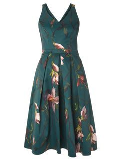 Green Floral Fit And Flare Prom Dress