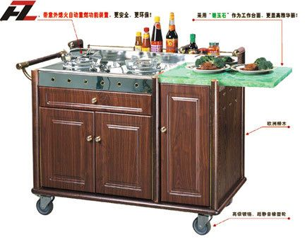 Hotel Buffet Cart with Double Gas Stoves-Kitchen Cart Island