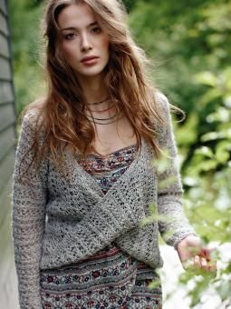 Coogee - Knit this womens lace twisted layer piece from the Pure Linen Collection, designed by Lisa Richardson using the stunni...