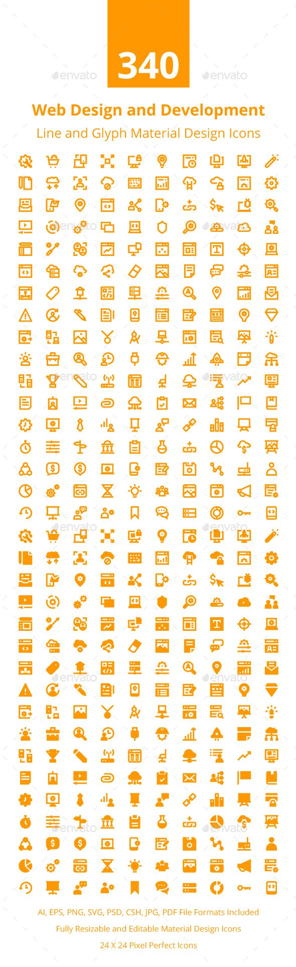 340 Web Design and Development Icons  — EPS Template #online icons #web #web…