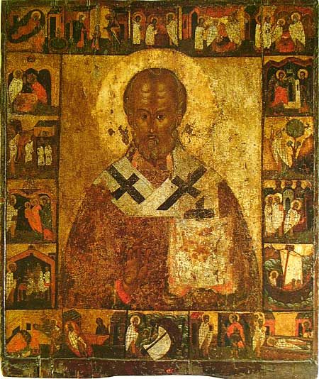 Nikola (Saint Nicholas) with Scenes from His Life. The templar icon of The Church of Assumption in Meletovo village near Pskov. Second half of the XVI century. State Tretyakov Gallery