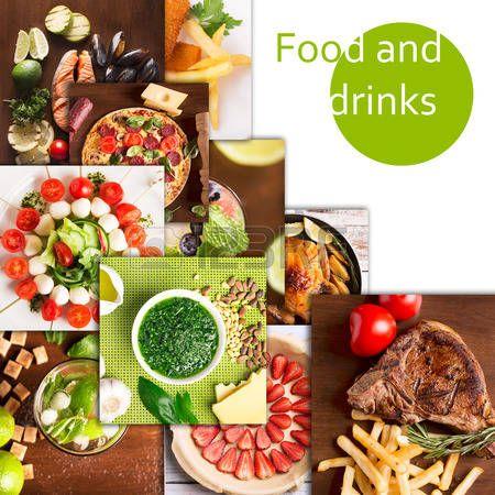 Коллаж из различных фотографий вкусной еды и напитков