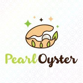 Beautiful opened oyster logo designed with a pearl inside it, and algae leaves on it.