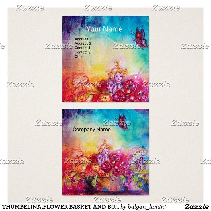 THUMBELINA,FLOWER BASKET AND BUTTERFLY SQUARE BUSINESS CARD #baby #child #nursery #flowers #beauty #babysitter