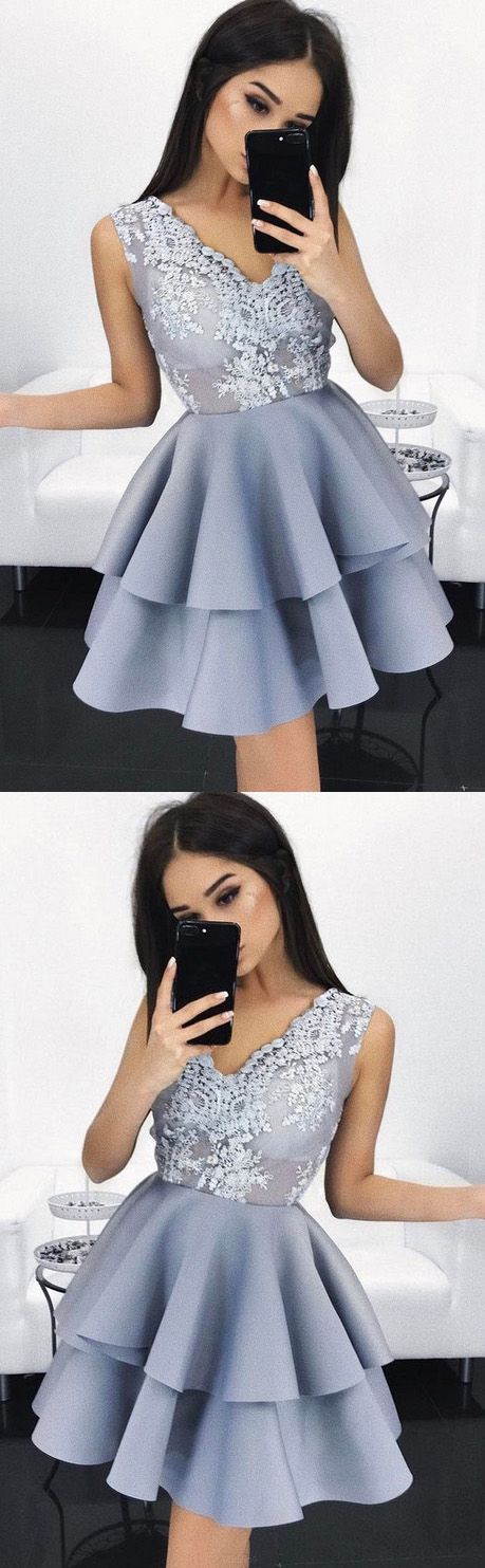 Short Prom Dresses, Prom Dresses Short, Discount Prom Dresses, Lavender Prom Dresses, Prom Short Dresses, Homecoming Dresses Short, Short Homecoming Dresses, V Neck dresses, Short Party Dresses, Layered Prom Dresses, V-Neck Party Dresses, Sleeveless Party Dresses