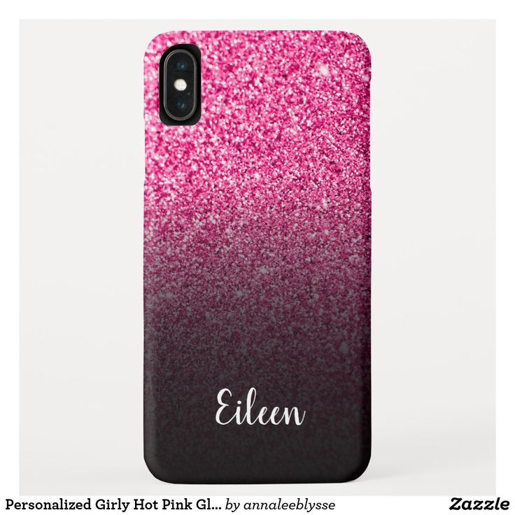Personalized Girly Hot Pink Glitter Black Ombre Case Mate Iphone