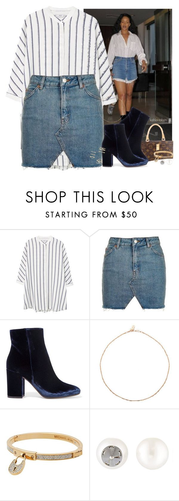 """""""Outfit Appreciation: Rihanna 11  07 16"""" by kahla-robyn ❤ liked on Polyvore featuring MANGO, Topshop, Louis Vuitton, Gianvito Rossi, Michael Kors, Ana Khouri and Forever 21"""