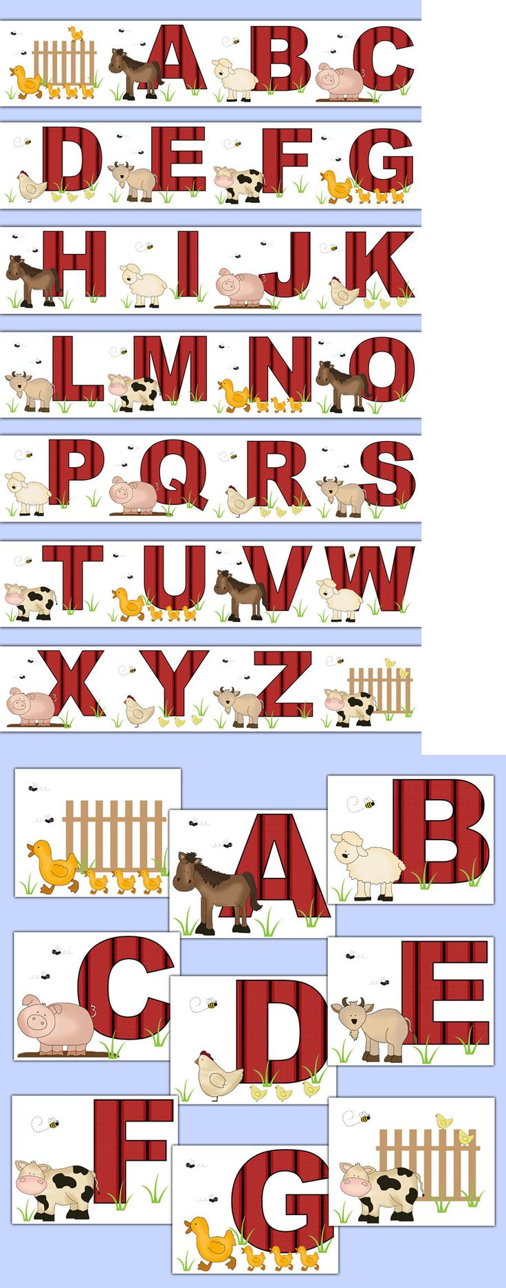Wallpaper Borders 37636: Farm Barnyard Animal Alphabet Wallpaper Border Wall Art Decals Nursery Stickers -> BUY IT NOW ONLY: $40 on eBay!