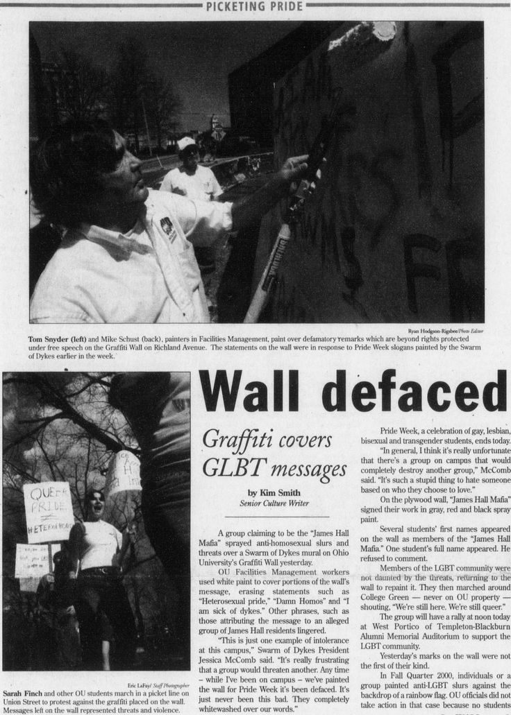 """Post (Athens, Ohio) April 12 2002, page 1: """"Wall defaced."""" """"A group claiming to be the 'James Hall Mafia' sprayed anti-homosexual slurs and threats over a Swarm of Dykes mural on Ohio University's Graffiti Wall. Members of the LGBT community were not daunted by the threats, returning to the wall to repaint it."""" :: Ohio University Archives"""