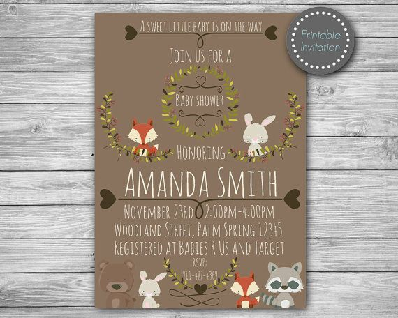Woodland baby shower invitation woodland baby by MagicPartyDesigns