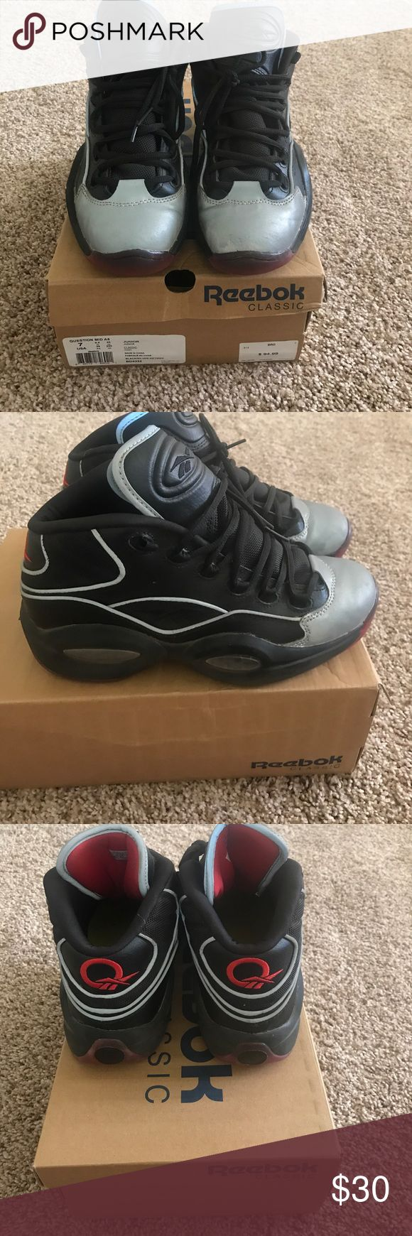 Reebok Question Mid A5 Iverson The Question basketball shoes. Black/silver metallic/red. Toe has a reflective silver finish. Shoes have only been worn a few times. Soles are intact, shoe is practically new. Reebok Shoes Sneakers