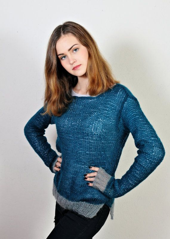 FREE SHIPPINGmohair knit sweaterpetrooil by Isabellwoolstudio