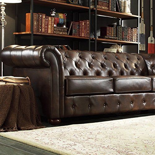 tribecca home brown bonded leather tufted scroll arm sofa overstock shopping great deals on tribecca home sofas u0026 loveseats