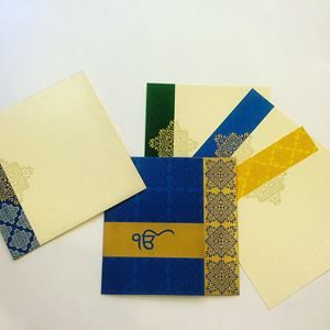Beautiful card is made from fine quality of shimmer finish card paper. Card front is covered with imprints, while the envelope is lined with the same print, and the exterior too has this print in a vertical border to its left.  #Wedding #WeddingInvitation #SikhWedding#Punjabi