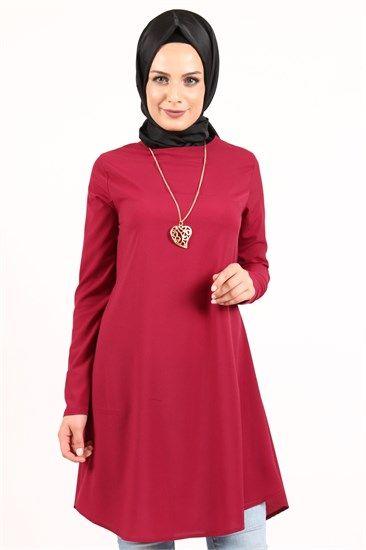Beyhan Kolyeli Tunik Kırmızı 1001