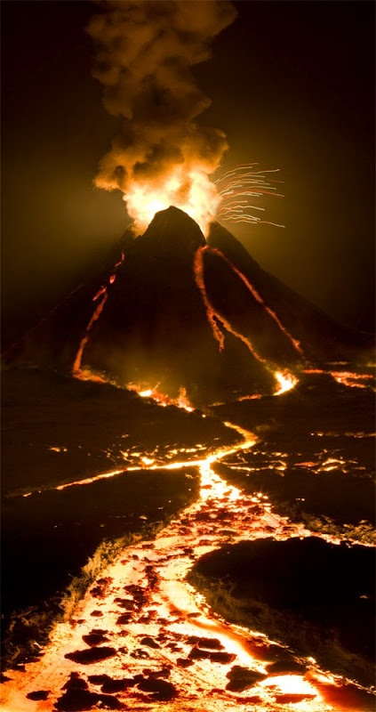 """Matthew Albanese: Strange Worlds. """"Volcano, """"Breaking Point"""", made out of tile grout, cotton, phosphorous ink. this model volcano was illuminated from within by 6-60 watt light bulbs."""""""