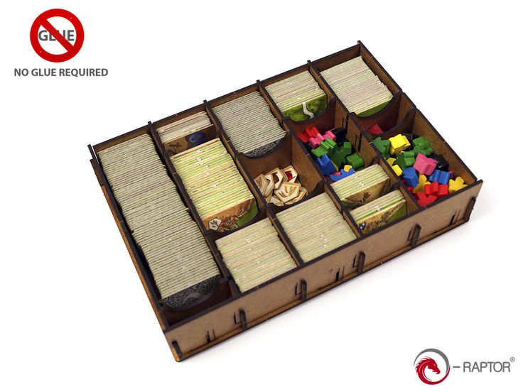 """We've got a new Carcassone insert: http://e-raptor.pl/en_US/p/e-Raptor-Insert-Carcassonne/1195 - it allows you to hold all Big Box components or base game plus approximately 4 little expansions. As all our products, it's assempled without glue. Also, look at the last picture showing how it's delivered to you (no separate parts, but everything in a bigger sheets ready to """"punch out"""")."""