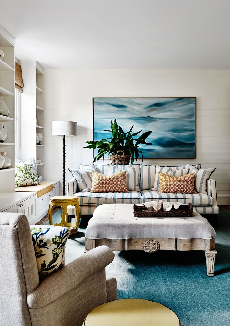 Living room from Hamptons-style holiday home on Victoria's Mornington Peninsula. Photography: Lisa Cohen   Styling: Adelaide Bragg   Story: Belle
