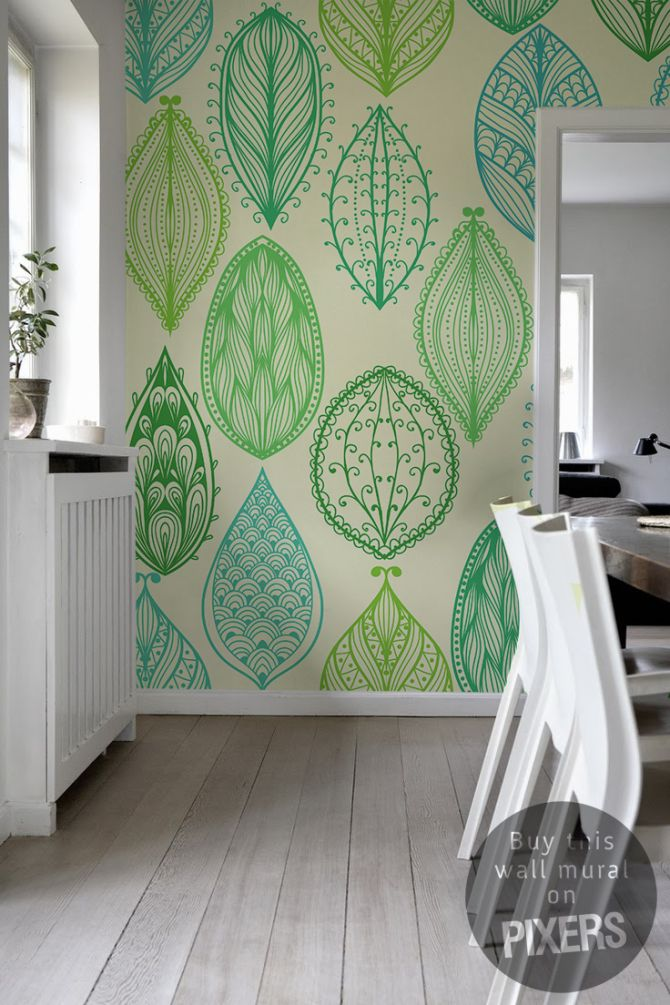 Wall Mural Leaves - inspiration wall mural, interiors gallery• PIXERSIZE.com