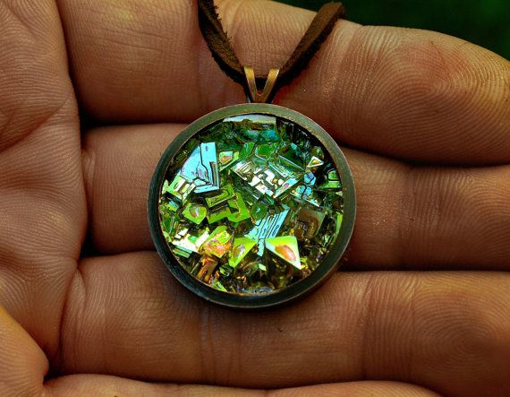 Cubic Chameleon, Bismuth Metal Crystal in a Copper Bezel on a Copper or Leather Necklace, Fractal, Unique, Artistic Metal Jewelry